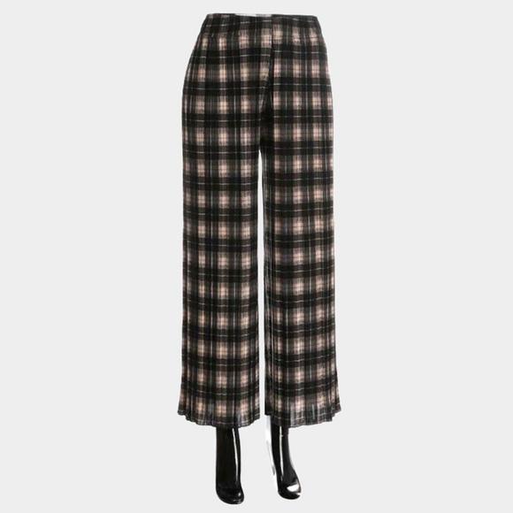 Pants - Black Plaid Pleated Culotte Pants